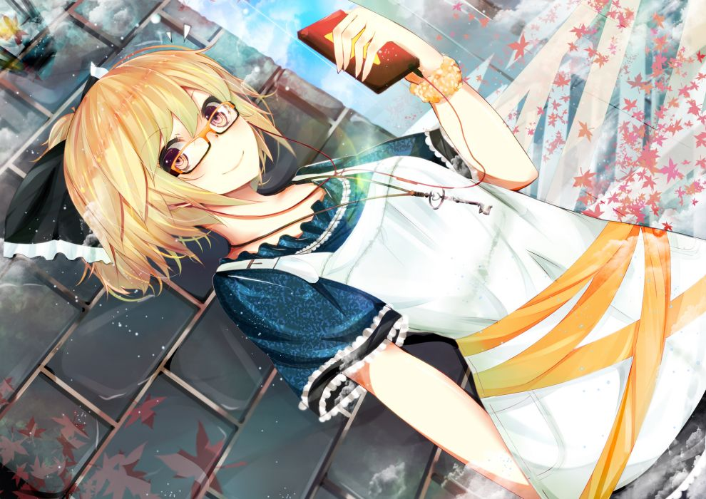 blonde hair bow dress glasses headphones kurodani yamame necklace nmaaaaa touhou wallpaper