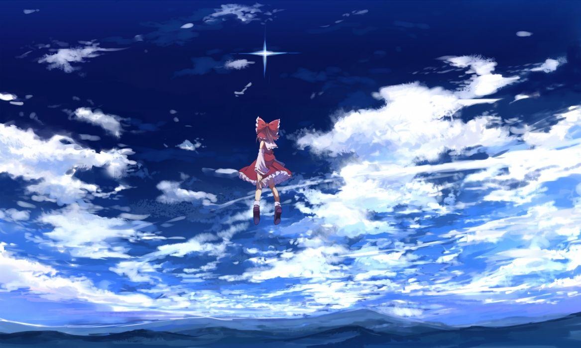 bow clouds hakurei reimu sky touhou ume (plumblossom) wallpaper
