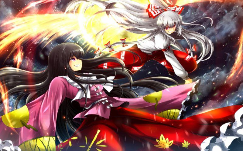 bow fujiwara no mokou houraisan kaguya japanese clothes nekominase tagme touhou wings wallpaper