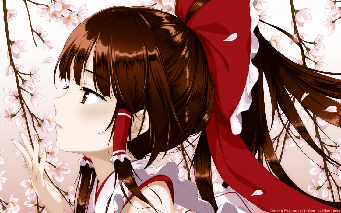 brown eyes brown hair close hakurei reimu japanese clothes ke-ta long hair miko petals touhou vector watermark wallpaper