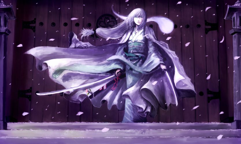 blue eyes chama (painter) gray hair japanese clothes katana konpaku youmu long hair petals sword touhou weapon wallpaper