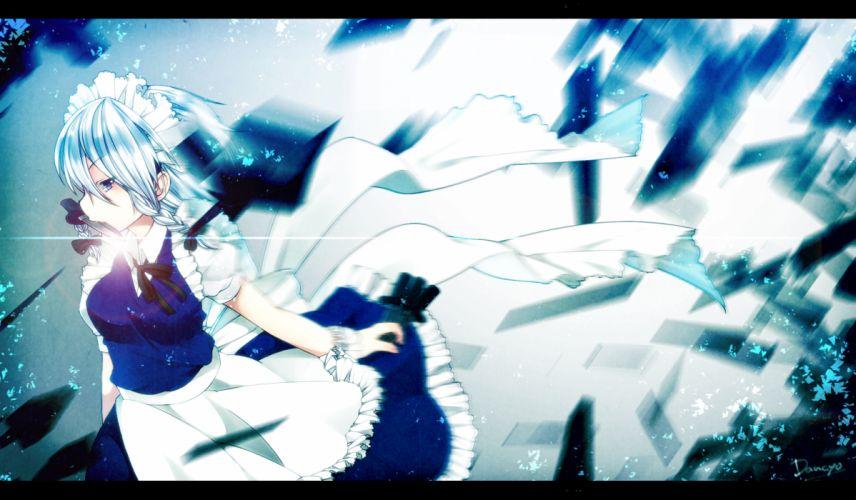 blue eyes gray hair izayoi sakuya knife maid signed skull_03 touhou weapon wallpaper