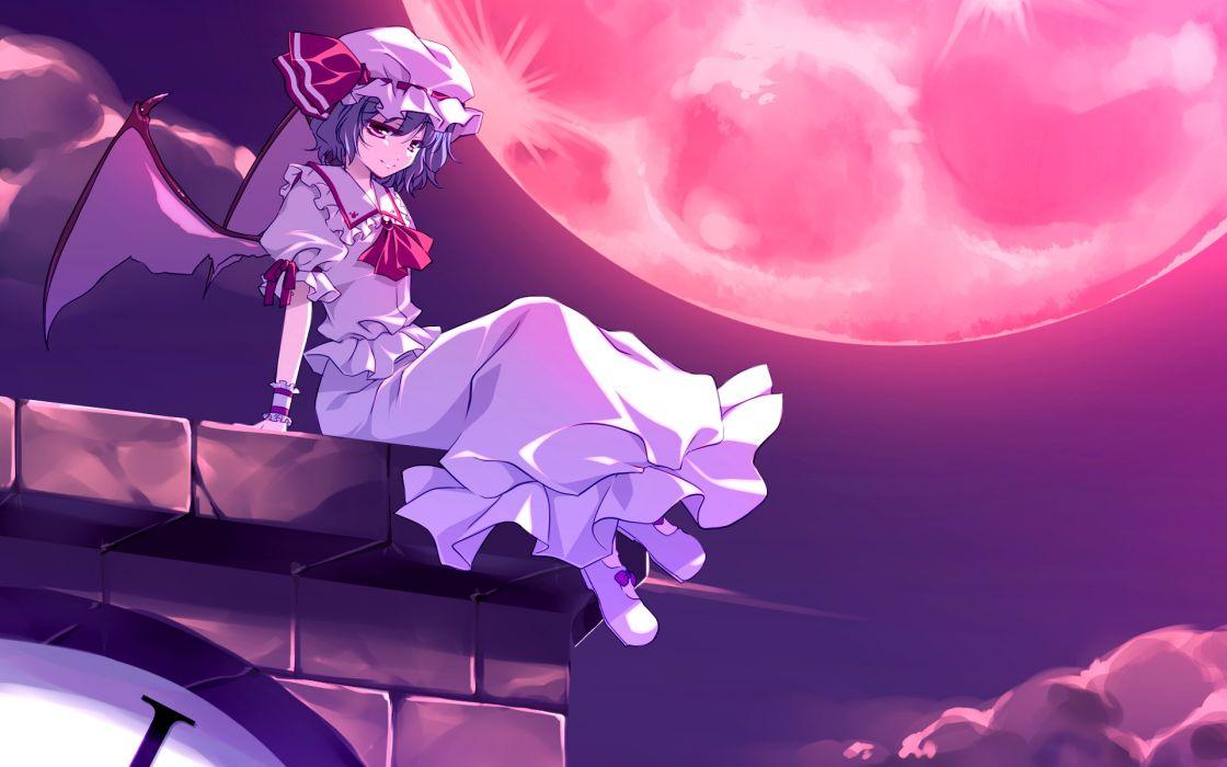 blue hair dress hat moon motomiya mitsuki red eyes remilia scarlet short hair touhou vampire wings wallpaper