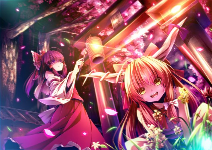 bow cherry blossoms flowers hakurei reimu horns ibuki suika japanese clothes ryosios touhou yellow eyes wallpaper