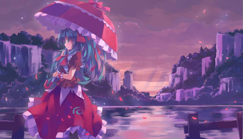 dress kagiyama hina nodata petals touhou umbrella wallpaper