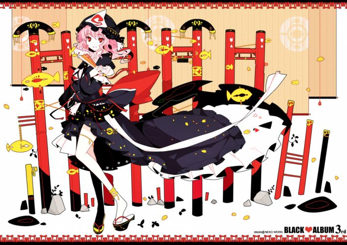 fan hat ideolo japanese clothes pink hair red eyes ribbons saigyouji yuyuko short hair thighhighs touhou wallpaper