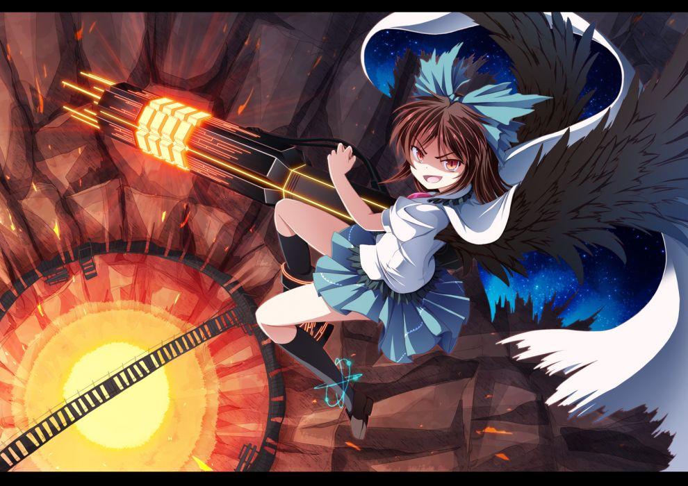 cape reiuji utsuho touhou tri weapon wings wallpaper