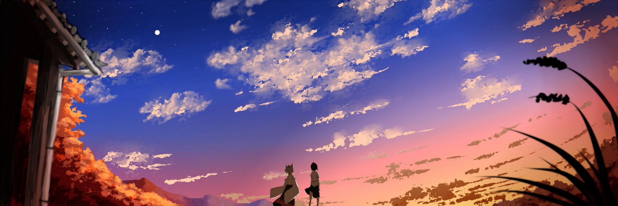 clouds hutotomomo inubashiri momiji landscape scenic shameimaru aya sky sunset touhou wallpaper