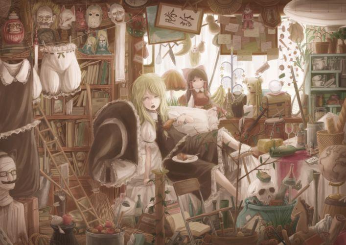 dress drink food hakurei reimu hat kirisame marisa lif (lif-ppp) mask teddy bear touhou wallpaper