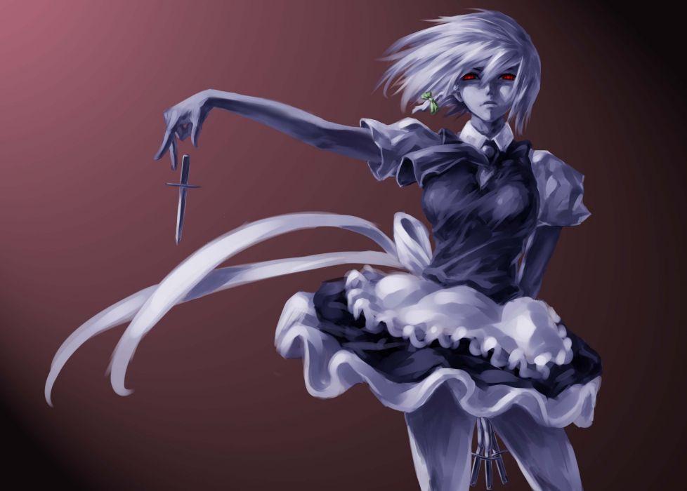 dress feitie izayoi sakuya maid red eyes touhou weapon wallpaper