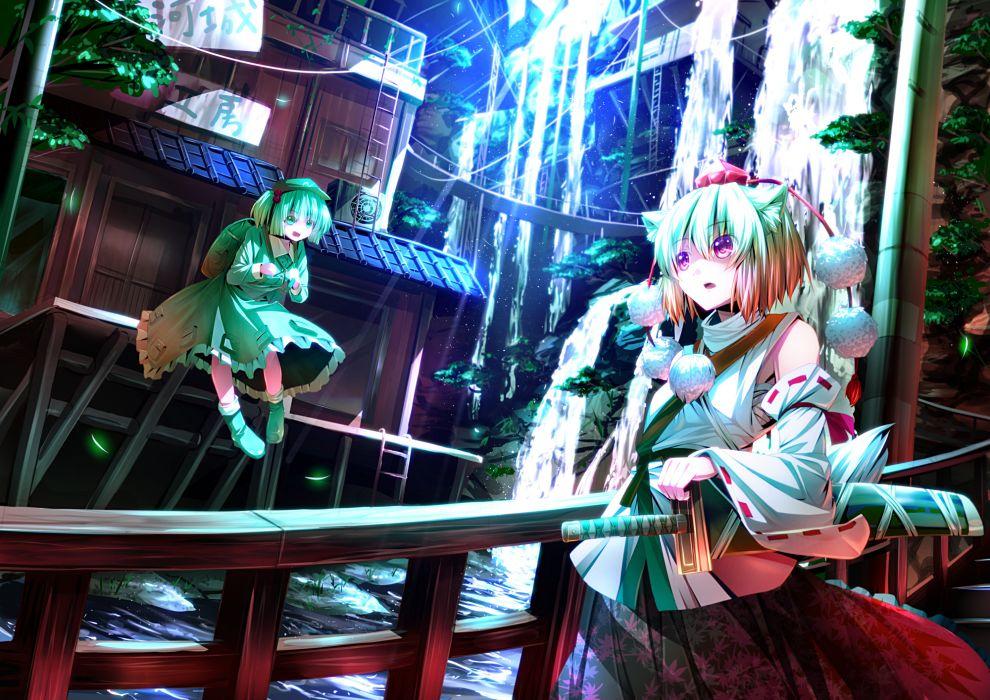 girls animal ears aqua eyes gray hair hat inubashiri momiji kawashiro nitori purple eyes ryosios short hair sword tail touhou water weapon wallpaper