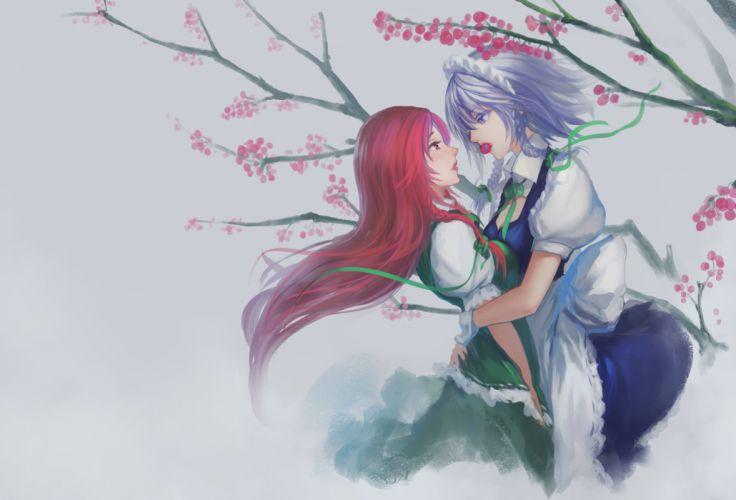 girls blue eyes braids cherry cleavage food gray hair hong meiling hug izayoi sakuya long hair maid red eyes red hair touhou yuri wallpaper