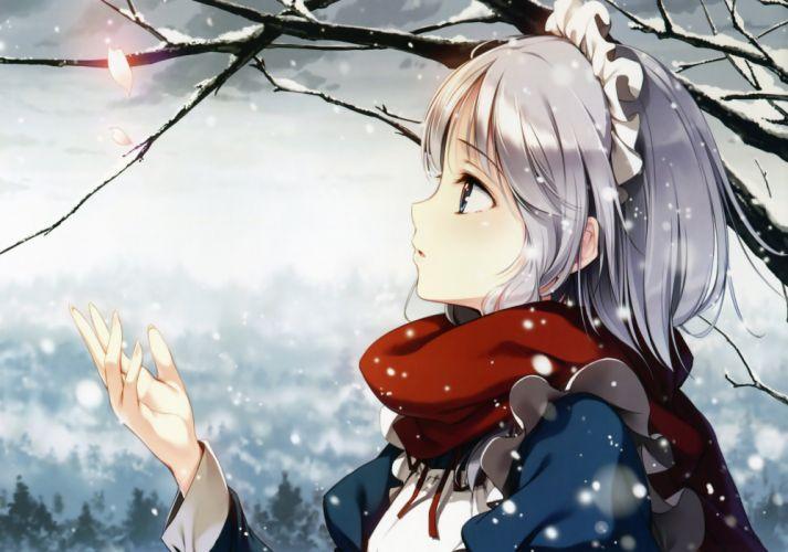 gray hair izayoi sakuya ke-ta maid petals snow touhou wallpaper