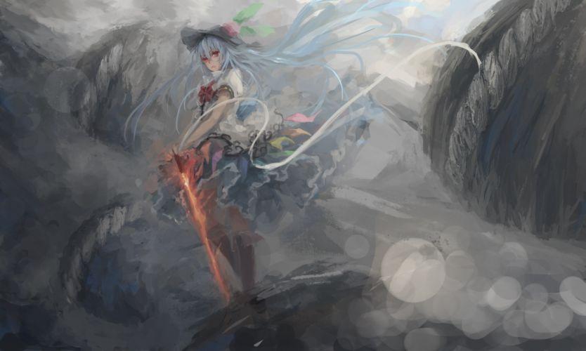 hinanawi tenshi long hair sword touhou weapon zatsuon wallpaper