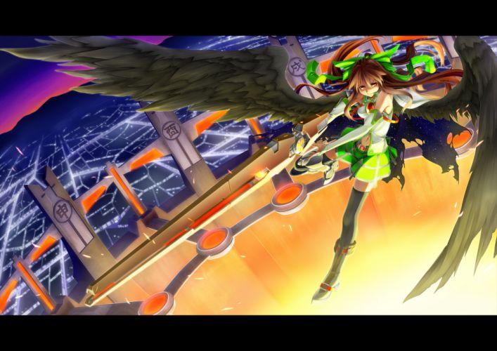 bow raid zero reiuji utsuho thighhighs touhou wings wallpaper