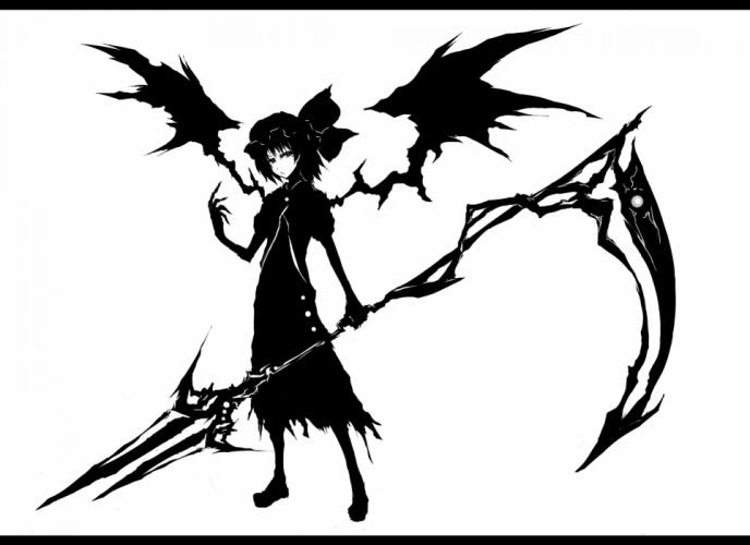 acryl hat monochrome remilia scarlet scythe short hair spear touhou vampire weapon wings wallpaper