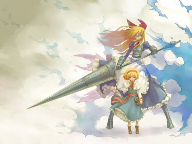 alice margatroid armor blonde hair bow clouds dress huu00 shanghai doll touhou weapon wallpaper