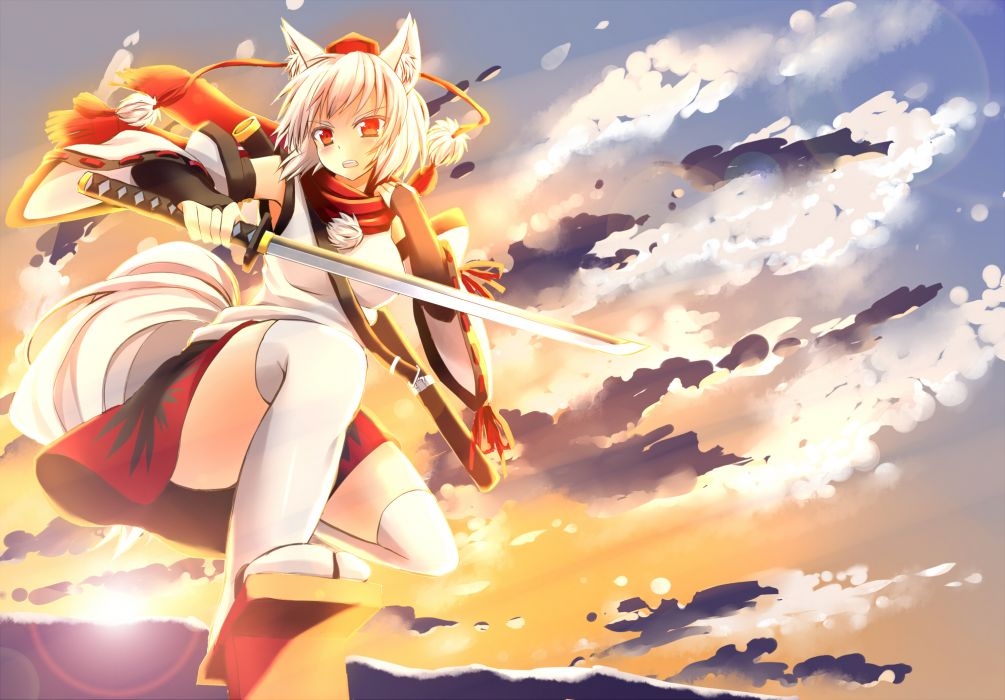 animal ears clouds hat inubashiri momiji japanese clothes red eyes scarf sky sword tail thighhighs touhou weapon white hair wallpaper
