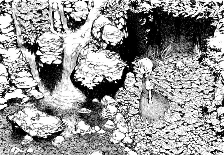 animchomoran cirno forest monochrome touhou water waterfall wallpaper