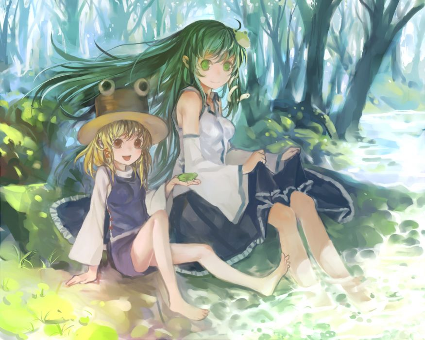 barefoot blonde hair dress green eyes green hair hat kochiya sanae moriya suwako touhou wet zrero wallpaper