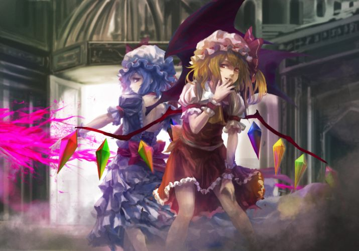blonde hair blue hair dress flandre scarlet hat remilia scarlet takakyo touhou vampire weapon wings wallpaper
