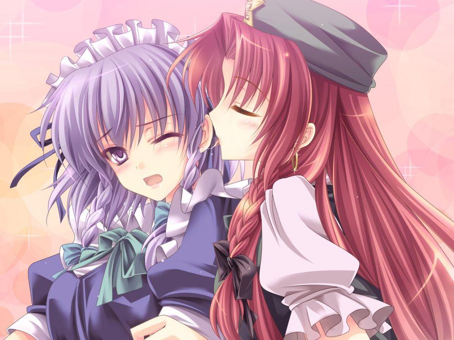 girls hat hong meiling izayoi sakuya moneti (daifuku) purple hair red hair touhou wallpaper