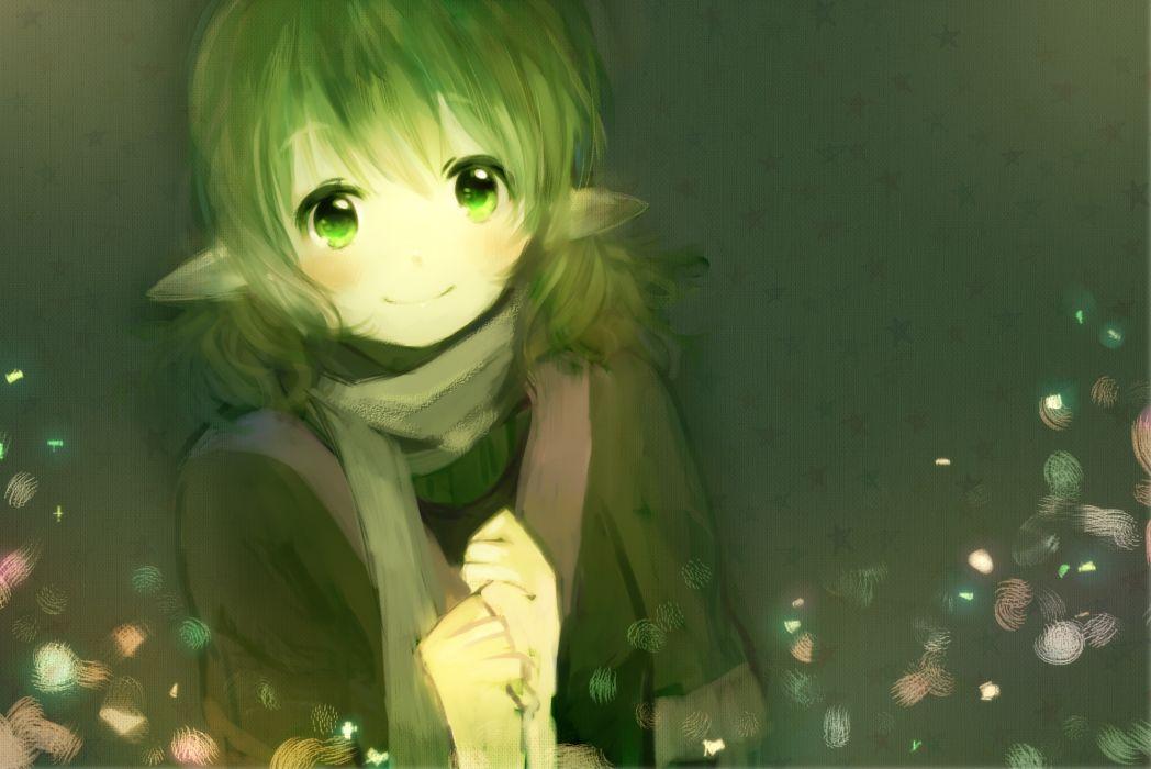 green eyes green hair mizuhashi parsee scarf short hair stars touhou ume (plumblossom) wallpaper