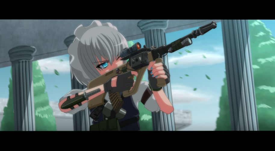 gun izayoi sakuya tagme tomon (slash0410) touhou weapon wallpaper