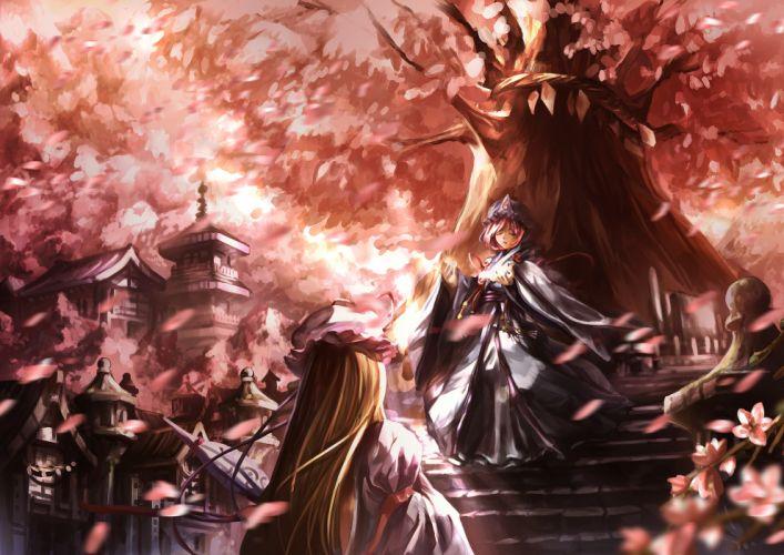 flowers hat japanese clothes leaves petals saigyouji yuyuko st06 touhou tree yakumo yukari wallpaper