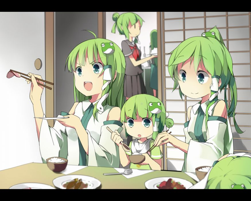 food green hair kochiya sanae seifuku sunyukun tagme touhou wallpaper