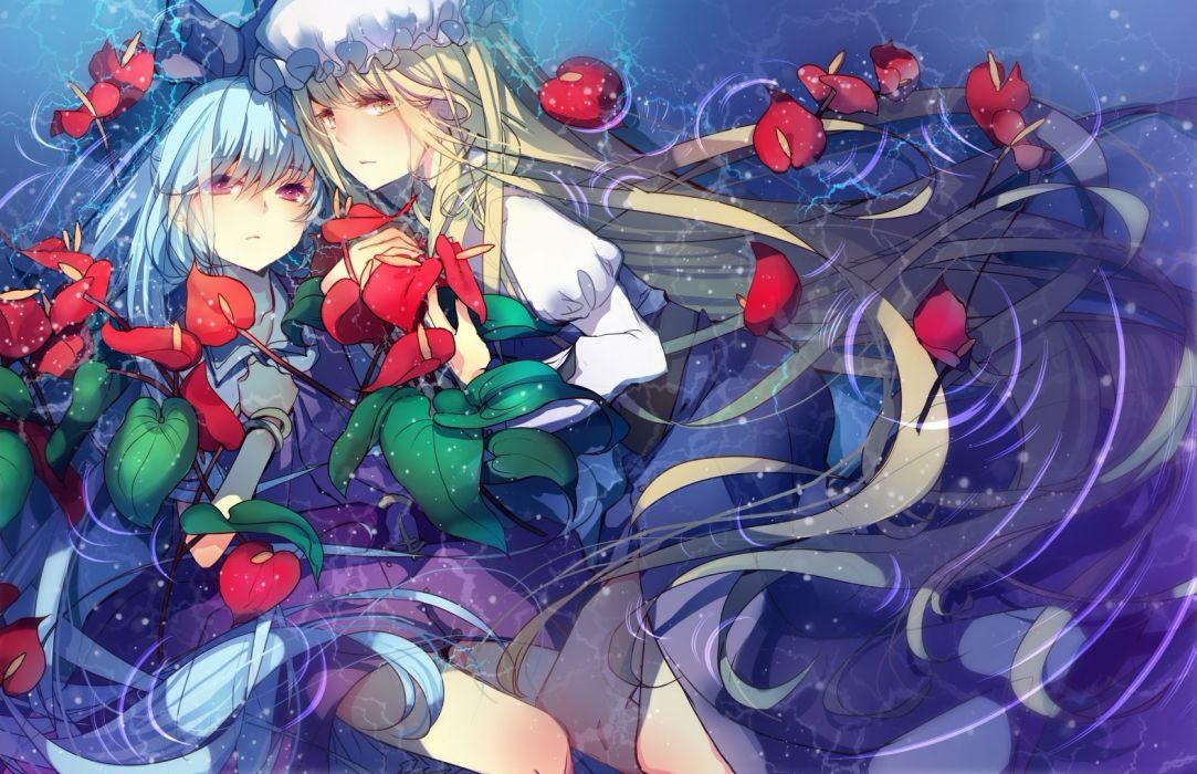 girls bow dress hat nicohi touhou watatsuki no toyohime watatsuki no yorihime water wet wallpaper