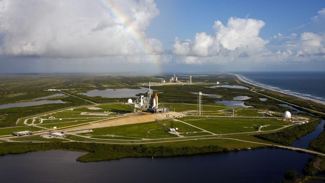 rockets Space Shuttle rainbows wallpaper