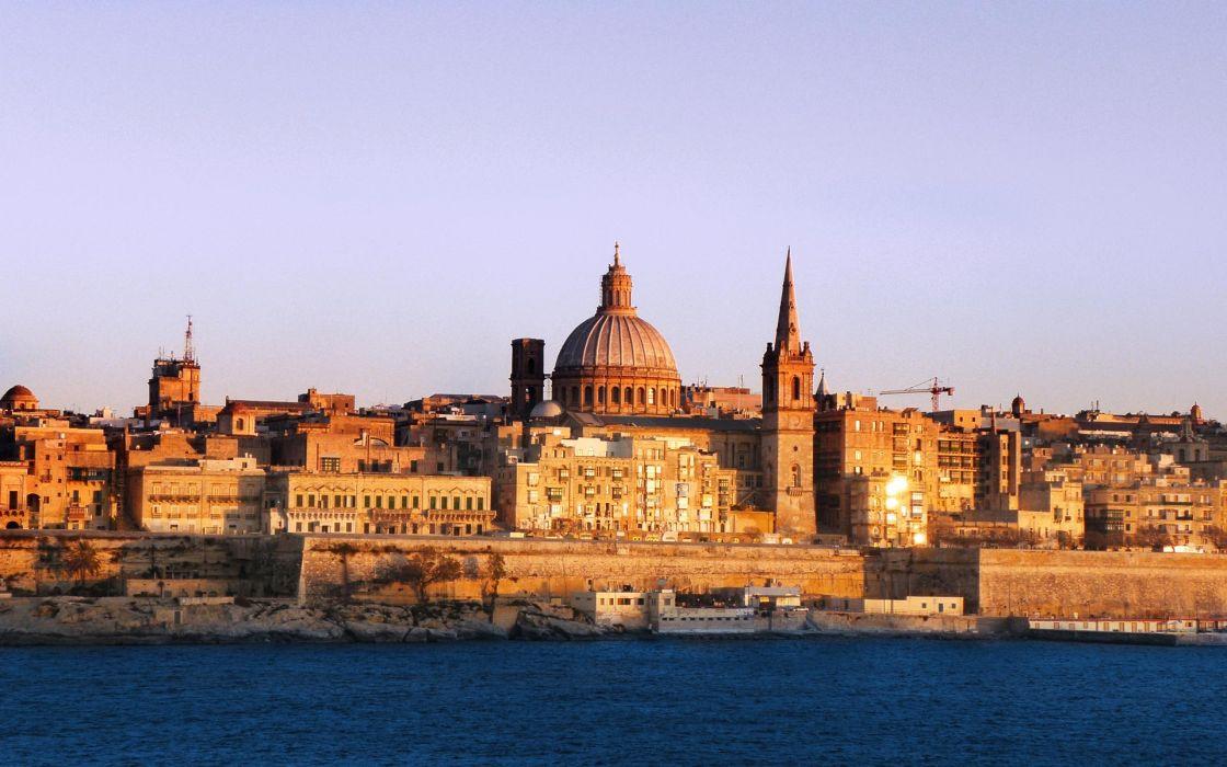 Valetta Malta city skyline widescreen wallpaper