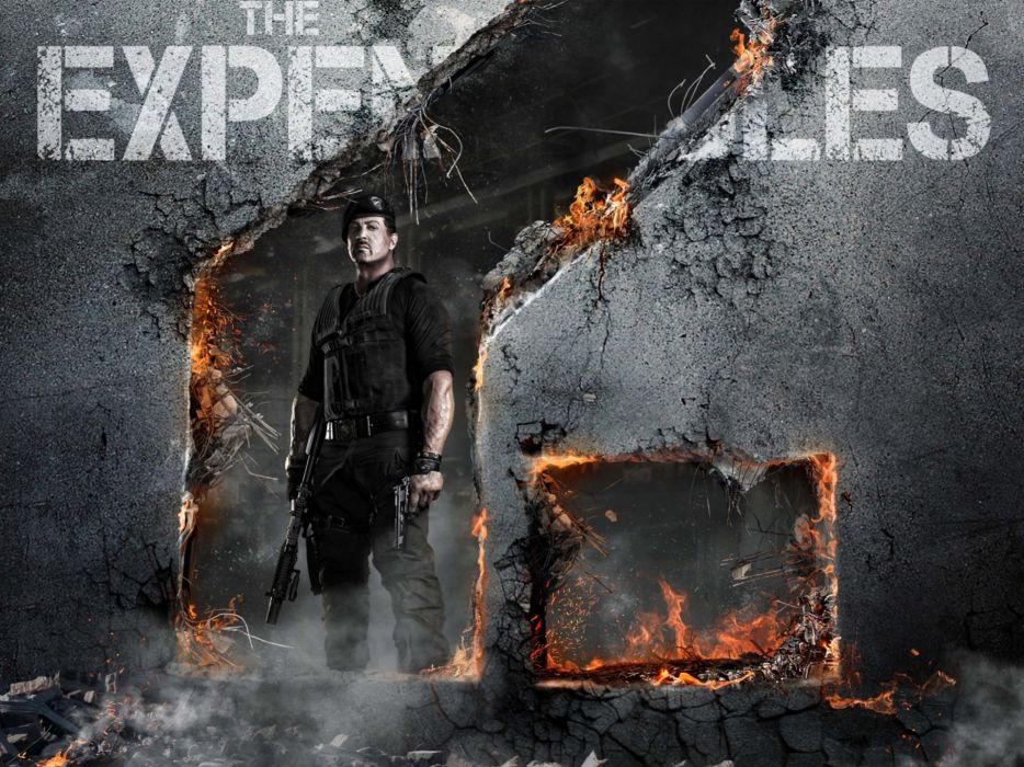 guns dark movies fire actors Sylvester Stallone The Expendables 2 wallpaper