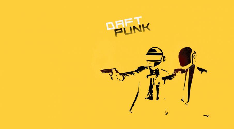 minimalistic music guns yellow blood Daft Punk Pulp Fiction parody dancing wallpaper