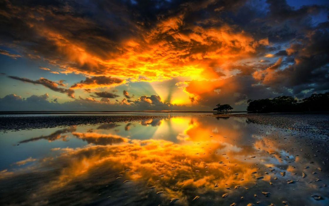 sunset nature beach shore shockwave skyscapes reflections wallpaper