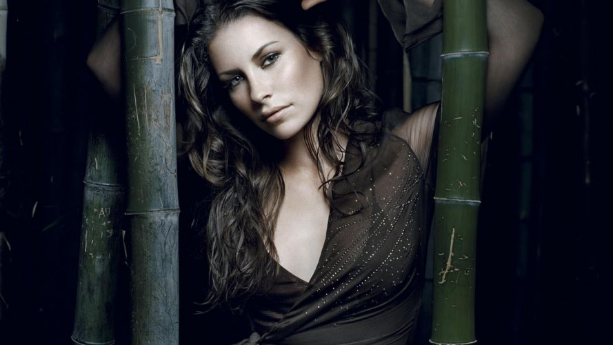 women actress Evangeline Lilly see-through black dress wallpaper