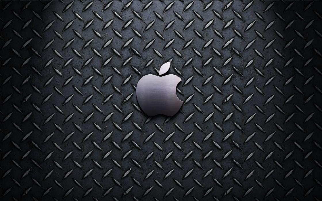 Apple Inc_ Mac steel textures logos wallpaper