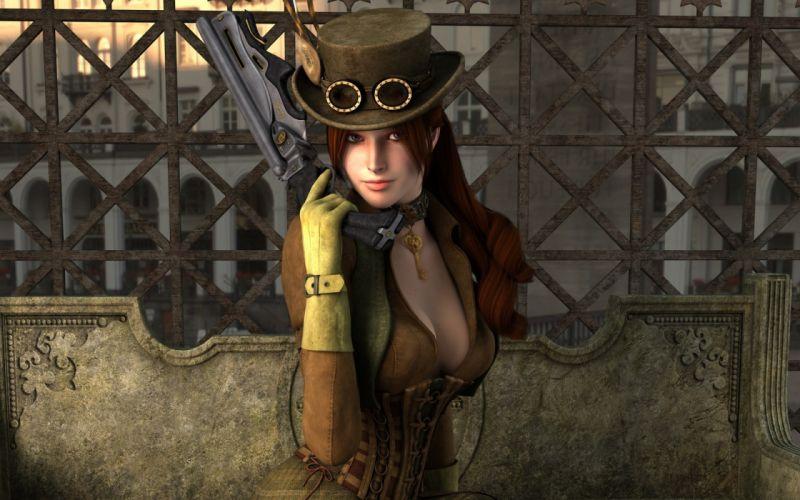 women guns redheads cleavage steampunk League of Legends corset tophat Miss Fortune wallpaper