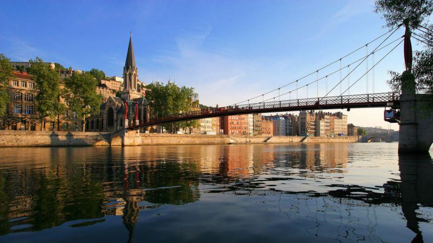 landscapes cityscapes bridges Lyon rivers SaA wallpaper