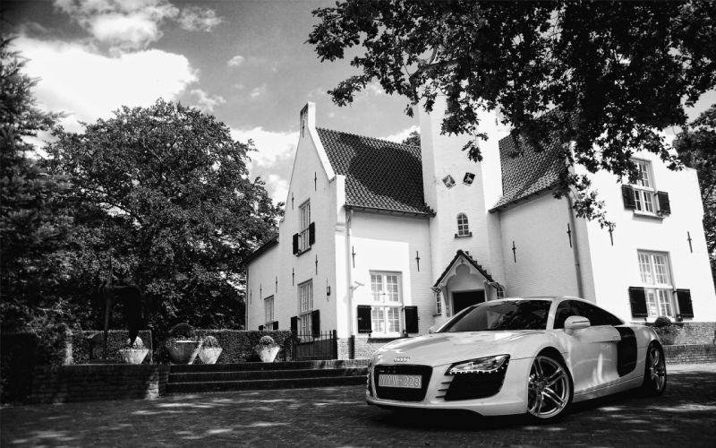 cars Audi monochrome vehicles Audi R8 white cars wallpaper