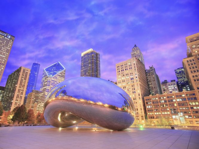 landscapes nature Chicago mirrors sculpture reflections evening Illinois wallpaper