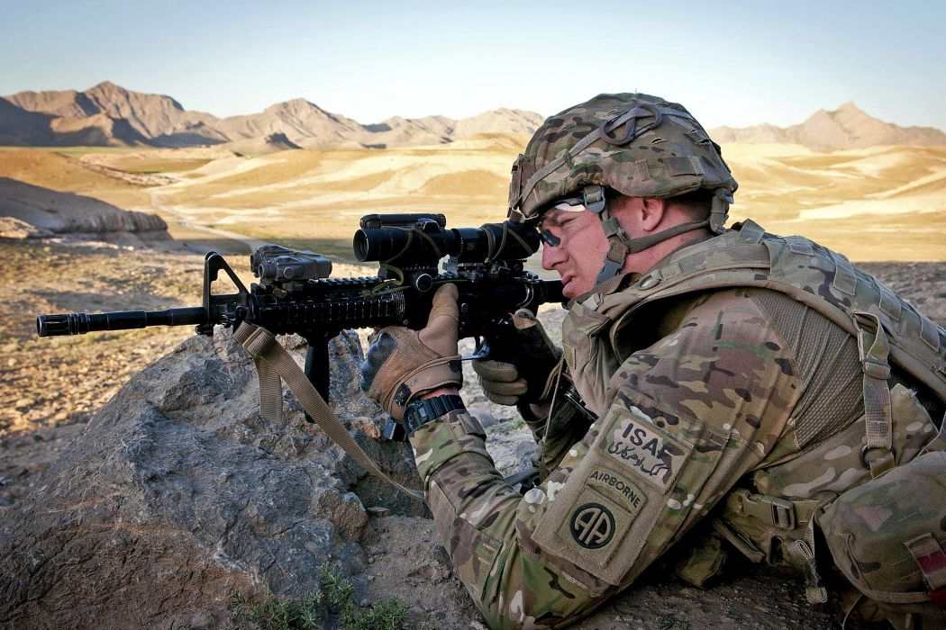 rifles soldiers guns military desert men USA Afghanistan M4A1 Multicam Aimpoint comp m4 wallpaper