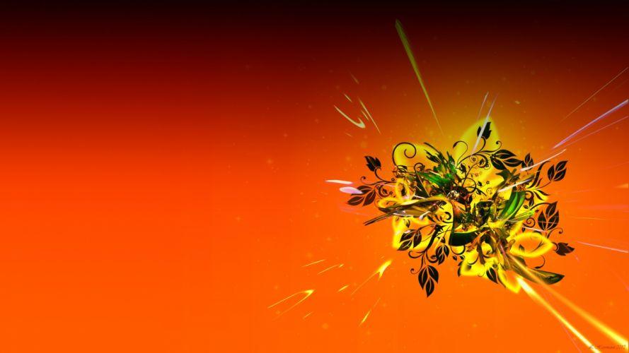 minimalistic flowers leaves vector DeviantART digital art wallpaper