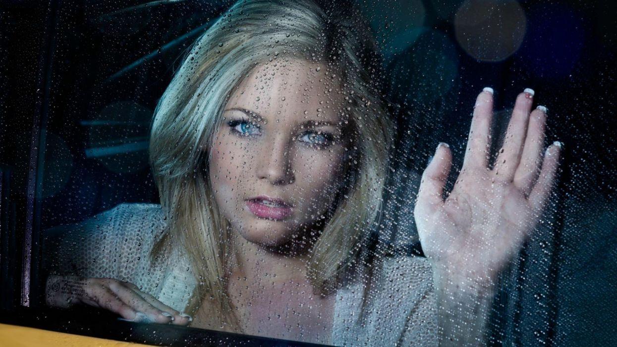 blondes women water window panes faces drops wallpaper