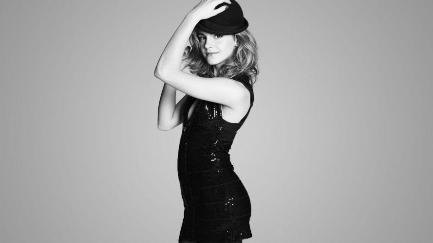 women Emma Watson actress monochrome wallpaper