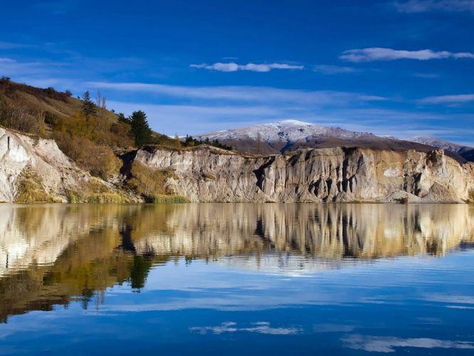 water summer lakes view skies wallpaper