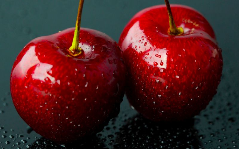 fruits cherries macro wallpaper