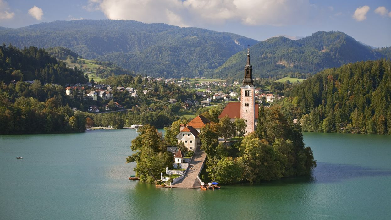mountains nature summer Europe islands church Slovenia holidays resort bled lake bled wallpaper