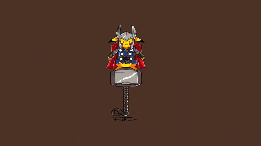 minimalistic Thor Pikachu artwork wallpaper